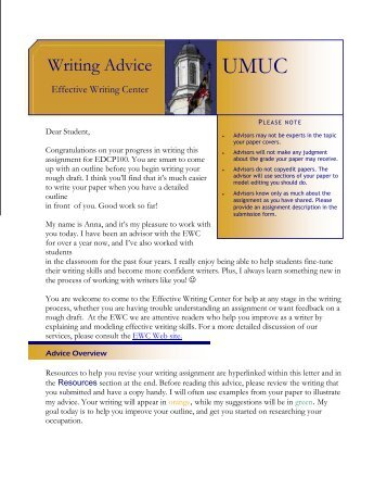 Writing Advice - University of Maryland University College