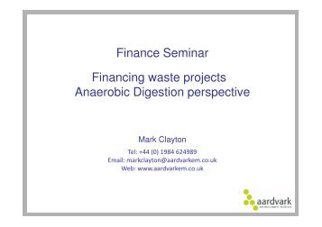 Finance Seminar Financing waste projects ... - Sustainability Live