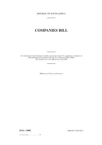 COMPANIES BILL - Department of Trade and Industry