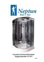 Installationsanvisning Neptun ångduschkabin 120x120 cm 2009