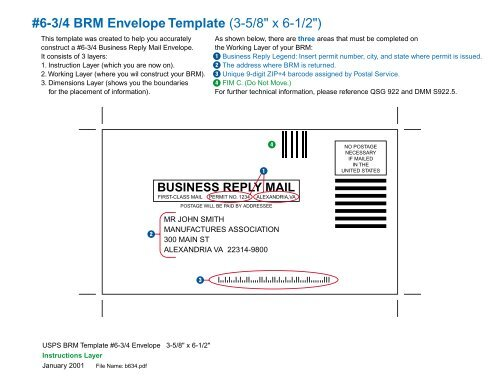 6 3 4 Brm Envelope Template 3 5 8 X 6 1 2