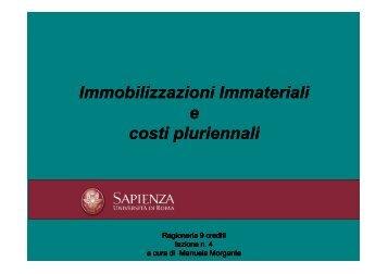 Immobilizzazioni immateriali - Sapienza - Dipartimento di Diritto ed ...