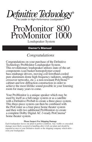 Definitive Technology Promonitor1000white Use And Care Manual