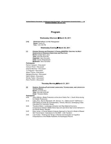Final Program (pp. 37-168) - Society for American Archaeology