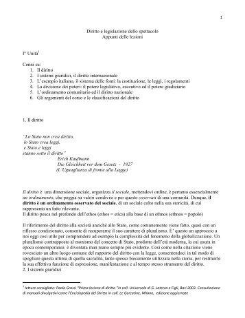 Diritto e legislazione dello spettacolo Appunti ... - Lettere e Filosofia
