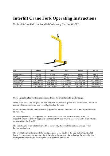 Interlift Crane Fork