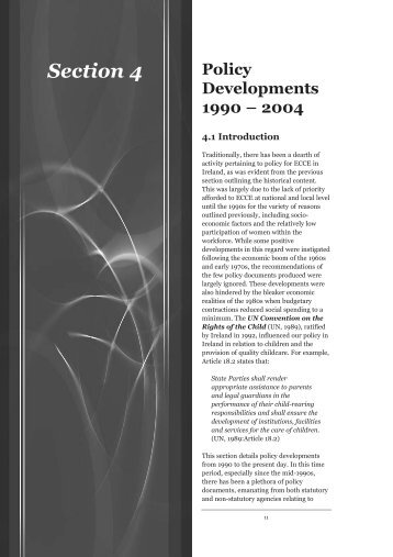 Policy Developments 1990-2004 - Centre for Early Childhood ...