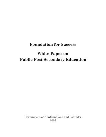 White Paper on Public Post-Secondary Education - Department of ...