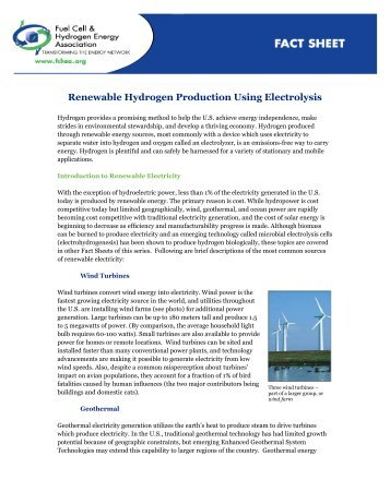 Renewable Hydrogen Production Using Electrolysis