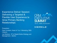 Experience Deliver Session: Delivering a Targeted ... - Merkle
