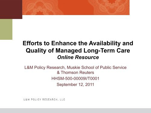 Efforts to Enhance the Availability and Quality of - National ...