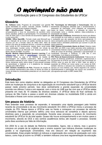 O Movimento Estudantil da UFSCar - Wiki-SL