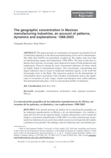The geographic concentration in Mexican manufacturing ... - Dialnet