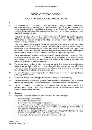 Behaviour Discipline Rewards and Sanctions Policy 2011