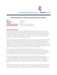 Bioinformatique de l'expression génétique ... - Genome Canada