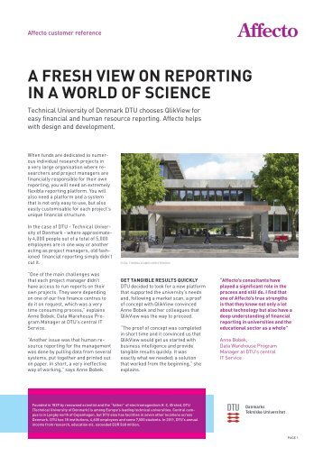 A FRESH VIEW ON REPORTING IN A WORLD OF SCIENCE - Affecto