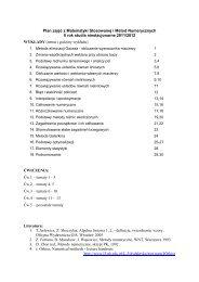 Plan zajęć z Matematyki Stosowanej i Metod Numerycznych II rok ...