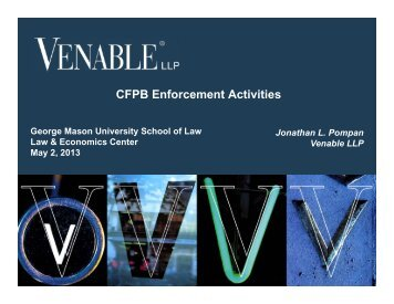 CFPB Enforcement Activities - Law & Economics Center