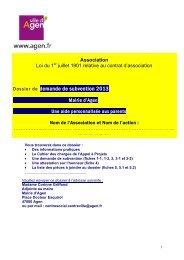 Dossier de demande de subvention 2013 - Ville d'Agen