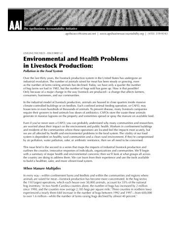 an analysis of the environmental concerns of the livestock industry Environmental analysis is a strategic tool it is a process to identify all the external and internal elements, which can affect the organization's performance.