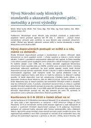 Vývoj Národní sady klinických standardů a ukazatelů zdravotní péče ...