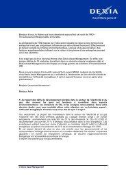Introduction (by journalist): - Dexia Asset Management