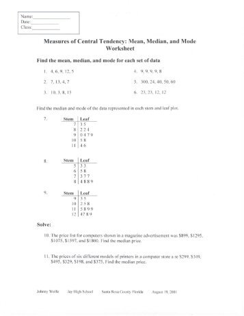 Measures Of Central Tendency Worksheets