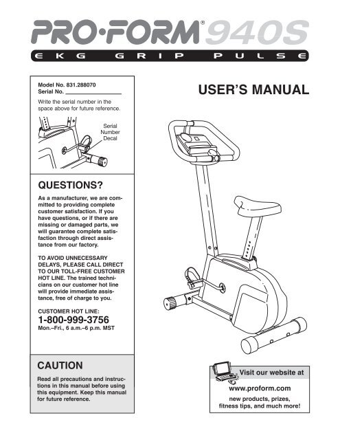 User's manual for treadmill sears pro form 831. 29776, download free.