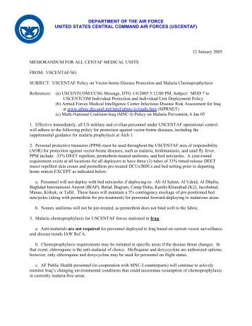 CENTAF Policy on Malaria Chemoprophylaxis