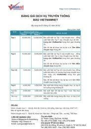 BẢNG GIÁ DỊCH VỤ TRUYỀN THÔNG BÁO VIETNAMNET - 3nana