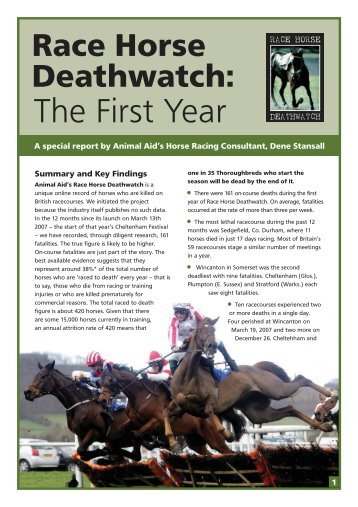 download report (pdf) - Race Horse Death Watch