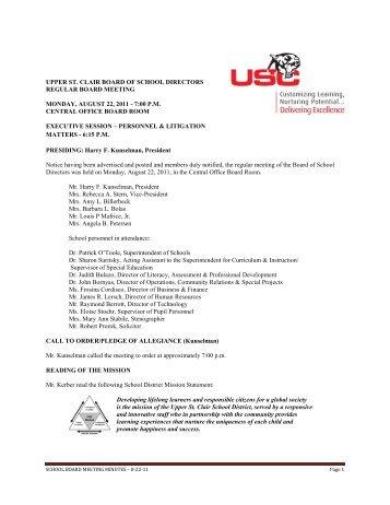 upper st. clair board of school directors regular board meeting ...