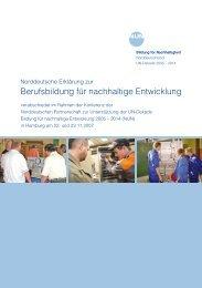 Norddeutsche Erklärung zur Berufsbildung für nachhaltige ...