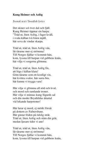 Kung Heimer och Aslög Svensk text / Swedish lyrics Det skiner sol ...