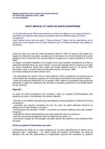 VOLET MEDICAL ET CARTE DE SANTE EUROPEENNE - Conseil ...