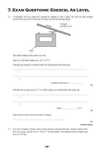 7. Exam Questions: Edexcel As Level