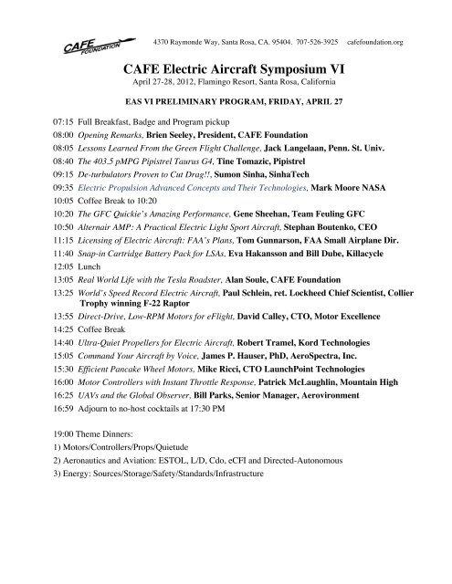 CAFE Electric Aircraft Symposium VI - CAFE Foundation