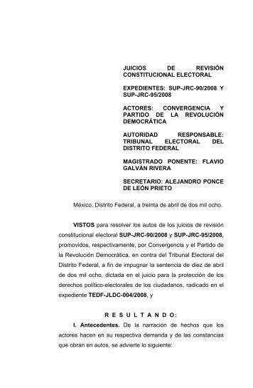 SUP-JRC-90/2008 y acumulado SUP-JRC-95/2008 - Tribunal ...