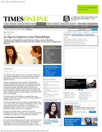 10 tips to improve your friendships - Times Online - Ursula James