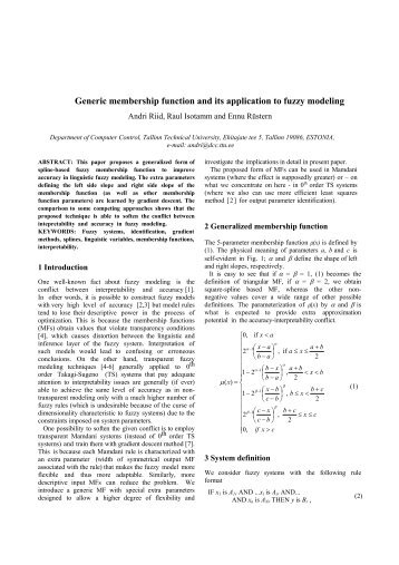 Generic membership function and its application to fuzzy modeling