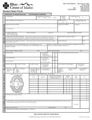 Dental Claim Form - Blue Cross of Idaho
