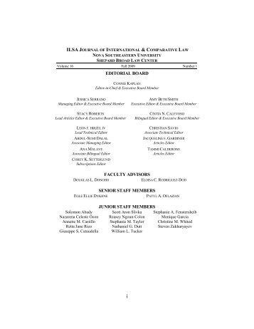 editorial board faculty advisors senior staff members junior staff ...