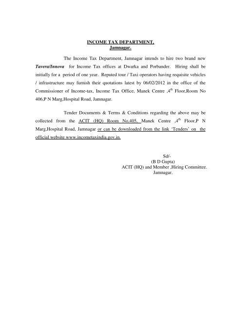 INCOME TAX DEPARTMENT, Jamnagar. The Income Tax ...