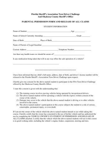 Athletic Parent Permission And Release Form  Choctawhatchee