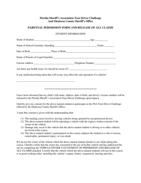 Parental Permission Form and Release of All Claims - Okaloosa ...