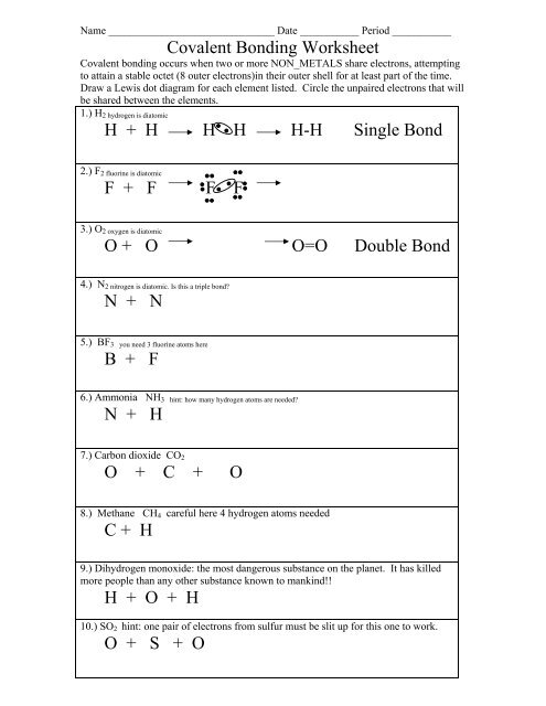 Covalent Bonding Worksheet Colina Middle School