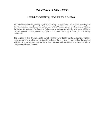 ZONING ORDINANCE - Surry County