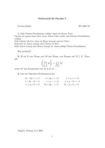 Mathematik für Physiker I Carsten Schütt WS 2009/10 1. Falls ...