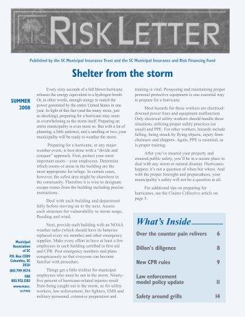 RiskLetter: Summer 2008 - Municipal Association of South Carolina