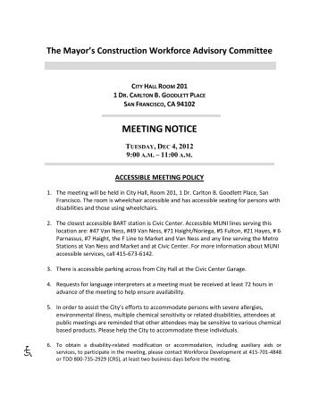 December 4, 2012 Construction Workforce Advisory Committee ...
